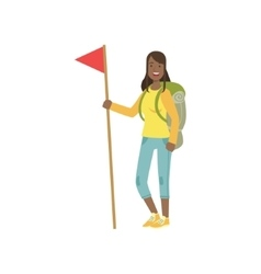 Woman With The Flag And Backpack vector image vector image