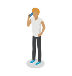 Young man stands and talks over cellphone on white vector