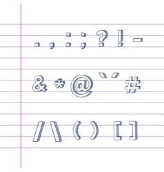 Hand drawn text symbols on lined paper vector