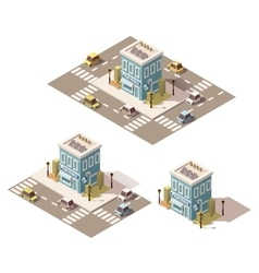 Isometric low poly drugstore icon vector