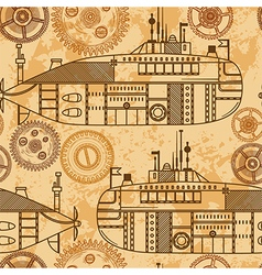 Vintage seamless pattern submarine machine gears vector