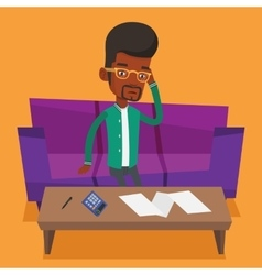 Unhappy african man accounting home bills vector
