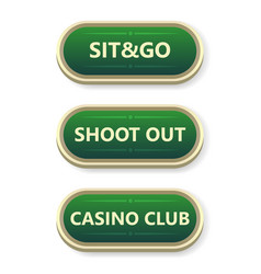 Colorful gambling and poker buttons with text vector
