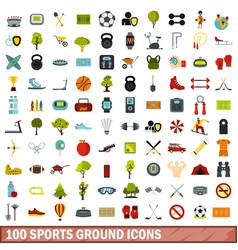 100 sports ground icons set flat style vector image