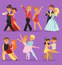 Dancing couples romantic person people dance man vector