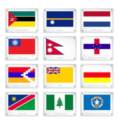 The official national flags on metal texture plate vector