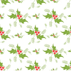 Christmas decorative pattern with holly branches vector