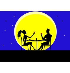 Cartoon silhouette of loving couple vector