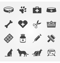 Veterinary pet icons set vector