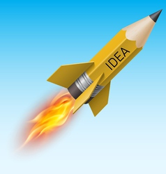 Yellow pencil as flying rocket vector image