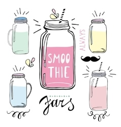 Smoothie jars set hand drawn sketch vector