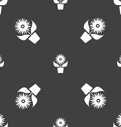 Flowers in pot icon sign seamless pattern on a vector