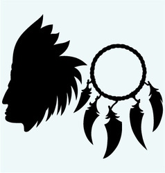 Portrait of american indian and dream catcher vector