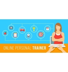 Online personal fitness instructor conceptual vector