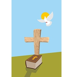 Cross and bible christian grave soul of man in vector