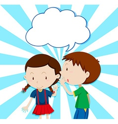 Boy whispering to girl vector