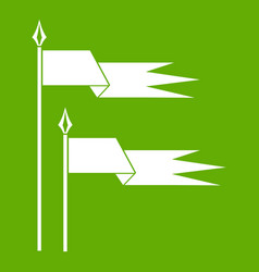 Ancient battle flags icon green vector