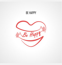 be happy typographical design elements and red vector image vector image