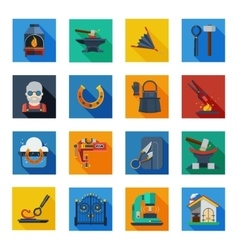 Blacksmith icons in colorful squares vector