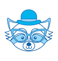 Blue icon raccoon face cartoon vector