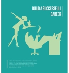 Build successful career banner with secretary vector image
