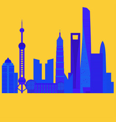 china travel landmark shanghai architecture vector image vector image