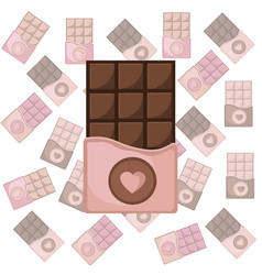 Chocolate bar set pattern background icon vector