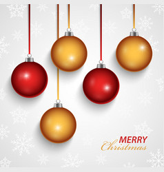 Christmas card with red orange spheres in the vector