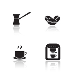 Coffee appliances drop shadow icons set vector image