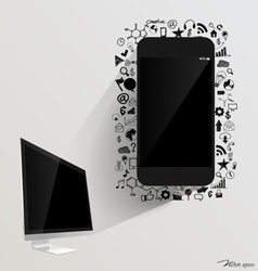 Computer display and Touchscreen device with vector image vector image
