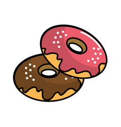 Delicious sweet donut cake vector