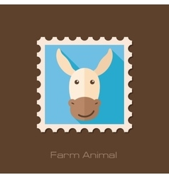 Donkey flat stamp Animal head vector image