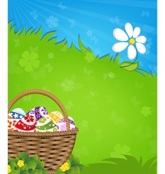 Easter basket and flower vector image vector image