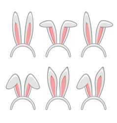 Easter rabbit ears masks set vector