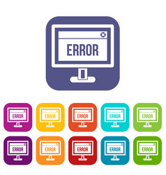 Error sign on a computer monitor icons set vector