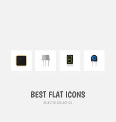 Flat icon technology set of cpu resist vector