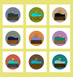 Flat icons set of cracked earth underwater concept vector