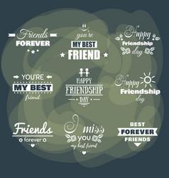 Friendship day badges set vector