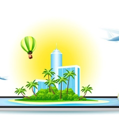 Green palm island with modern hotel vector