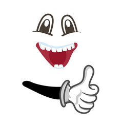 Happy smiley face with thumb up gesture vector