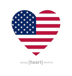 heart with american flag colors and symbol vector image