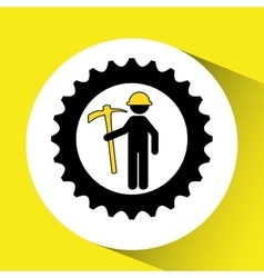 Man mining gears pickax icon vector