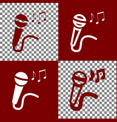 Microphone sign with music notes bordo vector