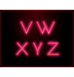 Neon Font Type Alphabet Glowing in vector image