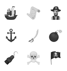 Pirates set icons in monochrome style big vector