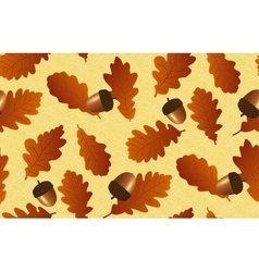 Seamless background with oak leaves and acorns vector image