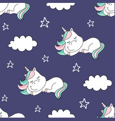 Seamless pattern with dreaming unicorn and clouds vector