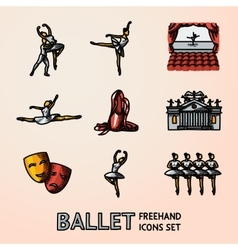 Set of bright Ballet freehand icons with - vector image