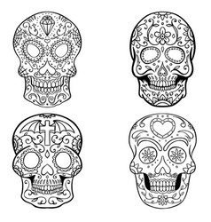 Set of sugar skulls isolated on white backgroun vector