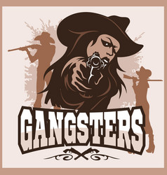 Sexy gangster - girl with a gun - vintage poster vector